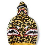 Wholesale Trendy Women S Sweaters - shark Hoodie trendy black gold zipper men and women jacket sweater hip hop kanye west gold pocket printing camouflage hooded sweater