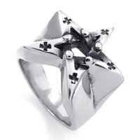 Wholesale Great Paragraph - 073611-Wholesale Men paragraph five-pointed star star ring hollow cross stainless steel ring personality US Size: 8-14