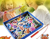 Wholesale 32 piece Baby Wooden magnetic fishing game puzzle toys kids infant funny Puzzles Toy children birthday Gift toy set with colorful box