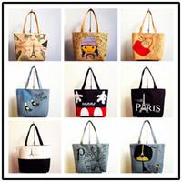 Wholesale Wholesale Zebra Shopping Bags - Handbag New Printing Lovely Zebra Canvas Bag Shopping Bag Girl's Shopping Shoulder Bags Women Handbag Beach Bag Tote HandBags Shopping Bags