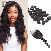 Wholesale 3 bundles of brazilian hair - 3 Bundles of Loose Body Wave With A Lace Closure Free Part Brazilian Peruvian Indian Malaysian Virgin Human Hair