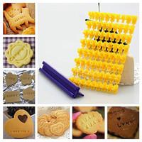 cortadores de biscoitos fondant de carta venda por atacado-Número do alfabeto letra Impress conjunto biscoito biscoito selo embosser cortador de bolo fondant diy molde