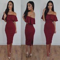 Wholesale plus size bodycon dresses cheap for sale - 2017 Burgundy Sexy Mermaid Prom Dresses Off Shoulder Tea Length Bodycon Cheap Dresses for Women Sexy Formal Evening Party Gowns