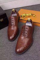 Wholesale H Shoes Men - Luxury Crocodile Skin Leather Shoes For Men Business Men's Dress Business Office Oxfords Lace-Up H Shoes