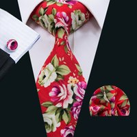 Wholesale Wedding Ties For Men Green - Red Tie Sets Ties for Men Floral Cotton Neckties Tie Hankerchief Cufflinks Sets Formal Business Wedding Party N-1363