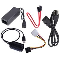 sata sürücü ide toptan satış-Yeni AB Standart Sabit Disk Güç Kaynağı Adaptörü USB 2.0 SATA / IDE Kablosu Sabit diskleri / CD-ROM'u bağlamak için kullanılabilir
