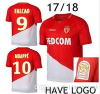 Wholesale France Soccer Team - #9 Falcao 17 18 Soccer Jersey AS Monaco Maillot de Foot Kylian Mbappe France Team 2017 2018 Fabinho Shirt Camisa Monaco Camisetas Futebol