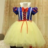 Wholesale tutu dresses - Girls snow white dresses christmas halloween princess girl stage costume tutu dress children bow cosplay skirts kids Performance clothes