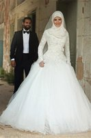 Wholesale Hijab Wedding Dresses Plus Size - Modest Beaded Lace Long Sleeve African Muslim Wedding Dresses with Hijab Vintage Crystal Ivory Tulle Plus Size Bridal Gowns