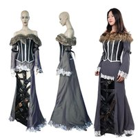 Wholesale Holloween Costumes Women - High Quality Role-playing Final Fantasy X 10 Lulu Cosplay Costume Pretty Women Dress Holloween Customize Handmade