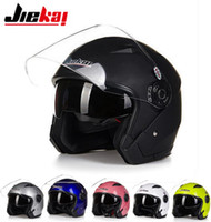 Wholesale Helmet Covers Motorbike - JIEKAI summer Half face motorcycle helmet JK512 dual lens half cover electric bicycle motorbike helmets Seasons made of ABS have 10 Colors