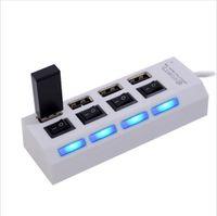 hub usb para laptop al por mayor-4 puertos USB 2.0 USB Hub Splitter 480Mbps con interruptor de encendido / apagado independiente con cable USB para computadora portátil con mouse