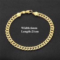 bracelet en or jaune pour homme achat en gros de-6 MM 21 CM Braceles De Luxe Pour Hommes 18 K Jaune Or Couleur Chaîne Curb Bracelets De Mode À La Mode Lien Bracelet Bijoux Cadeau