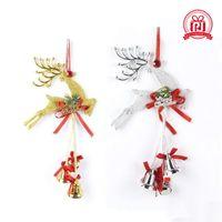 campana adornos para el árbol de navidad al por mayor-Los árboles de Navidad, accesorios de plástico Reno y las campanas de la familia colgante de suministros de decoración festival de Oro y color de la astilla