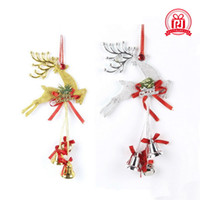 Wholesale reindeer bells - The Christmas tree ornaments accessories Reindeer and Plastic bells pendant Family festival decoration supplies Gold and sliver color
