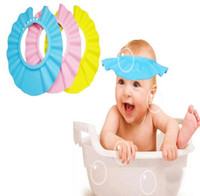 ingrosso cappelli da bagno per bambini-Regolabile Cappello per neonato Toddler Kids Shampoo Bath Bathing Shower Cap Wash Protezione per capelli Visiera trasparente Caps per bambini Cura del bambino HJIA647