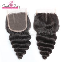 Wholesale Hairpieces For Black Women - Unprocessed Peruvian Loose Wave Lace Closure Middle Part 4*4 Hairpieces Remy Hair Natural Color Dyeable For Black women Also Wholesale