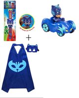 Pack De Masques De Fête Pas Cher-1 Packs Pjmasks inspiré Cap Cape; Masque +1 Pcs 9cm Véhicules mobiles Bundle Toy Party Montre