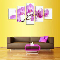 Wholesale Oil Painting For Sale Unframed - 5 piece 2016 Hot Sale Beautiful Puple Flowers Modern Home Wall Decor Canvas printing picture art HD oil painting for living room