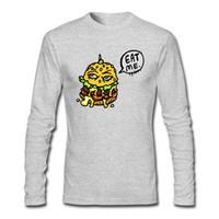 Wholesale Cartoon Hamburger - Cheap Special Top Quality T-shirts Funny Hamburger Cartoon Character Thinking Shirts Long Sleeve O Neck Tops T-shirts