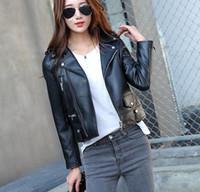 Wholesale Leather Sheepskin Jacket Black - lapel neck fashion black leather jackets 100% genuine leather jackets for women Brand sheepskin jackets