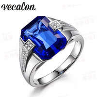 Wholesale Diamond Sapphire Sterling Silver Ring - Vecalon Brand Men fashion Jewelry wedding Band ring 6ct Sapphire Cz diamond 925 Sterling Silver male Engagement Finger ring
