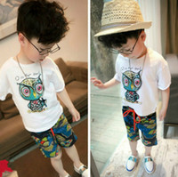 Wholesale Owl T - New Kids Clothing Set Character Owl Letter Boys T-Shirt +Print Pants Short Sleeve Children Clothing Casual Girls Sports Suit