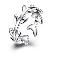 Wholesale Copper Wreath - Simple 925 Silver Plated Adjustable Cuff Laurel Wreath Leaf Open Cluster Wrap Ring for Women Free Shipping