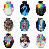 Wholesale Autumn Oil Paintings - 2017 New Arrival 3D Digital Funny Print Mens Hoodie With Caps Autumn Spring Lion Tiger Novelty Fashion Lovers Dragon Oil Paint Man Coat