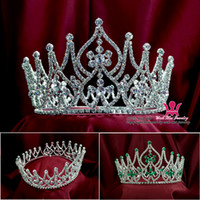 Wholesale Large Tiara Crown - Classic Crowns Tiaras Large Full Round Popular Gorgeous Princess Headwear Hair Accessories Bridal Wedding Pageant Winner Queen 02033