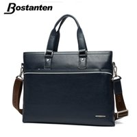 Wholesale Genuine Leather Business Bags Bostanten - Wholesale- Bostanten Business Genuine Leather Men Briefcase Messenger Bag High Quality Large Vintage Laptop Bag Luxury Famous Brand Handbag