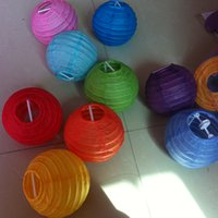 Wholesale Chinese Lantern Paper Yellow - 2016 Top quality Chinese Round Paper Lanterns 10CM for wedding decorations party decoration lanterns with mixed colors