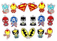 Wholesale Avengers Jewelry - Wholesale 50 Pcs Mix Cartoon Superhero The Avengers Classic Character Metal Charm Pendants Jewelry Making Toy Gift