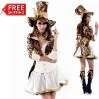 Wholesale Magician Costume Women - Mad Hatter Costume Women Adult Alice In Wonderland Cosplay Halloween Costumes for Women Magician Sexy Fancy Dress Wholesale