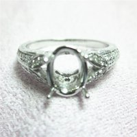 Wholesale Oval Yellow Engagement Rings - Oval 5x7mm Solid 14kt White Gold Natural Diamond Engagement Ring N002