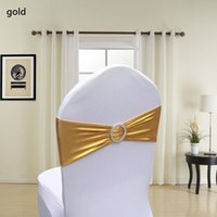 Wholesale Gold Chair Band Wholesale - Metallic Gold Silver Spandex Lycra Chair Sashes Bands Chair Cover Sash Wedding Party Chair Decor wen4469
