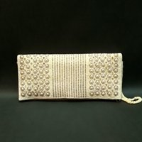 Wholesale Evening Clutch Hand Bags - Hand Made White pearl Woman Evening Bag Lady Clutch