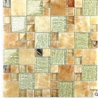 Wholesale Glass Tiles Swimming Pool - Mediterranean ice split crystal mosaic glass background wall swimming pool bathroom kitchen tiles D-8778