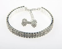 Wholesale Rhinestone Dog Bones - Luxury Czech Diamond Dog Cat Collar Bone Pet Necklace Whole Diamond Hotsell Pet Supplier White 3 Size Mix Order Min Order 50PCS