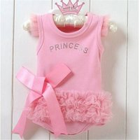 Wholesale Nice One Piece Dresses - Wholesale- Nice Baby Girls Kid Bodysuit Princess Ballet Top Suit Dress One-piece 0-24 Months Hot Sales