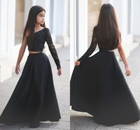 Wholesale One Sleeve Girl Pageant Dresses - 2017 Two Pieces Girls Pageant Dresses One Shoulder Beads Lace A Line Long Black Flower Girls Birthday Party Dress For Teens Child Cheap