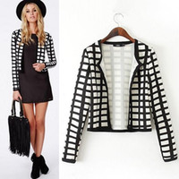 Wholesale Hot Ladies Breasts - 2016 Hot new women jacket coat ladies stitching long sleeve jaqueta feminina plaid outwear 3 colors unique design jackets