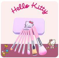 hello kitty mini fırça kutusu toptan satış-2017 Yeni Hello Kitty Mini Makyaj fırça Seti kozmetik seti de pinceis de maquiagem Tatlı pembe makyaj fırça Seti ile Metal kutu