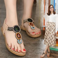Wholesale Sandals For Models - Flat sandals for woman good quality TPR sole breathable cut-out fashion model beading women beach sandal YonDream-237