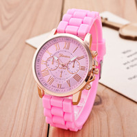 Wholesale jelly watch unisex - Fashion Geneva Watch Rubber Silicon Candy Jelly Fashion Men and Women Silicone Quartz wrist watches with 10 colors