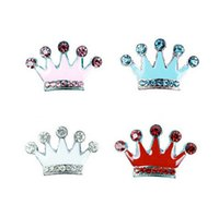 Wholesale Id Tags For Dogs - Wholesale New Hot Personalized 10mm Rhinestone Slider Crown For Dog Collar DIY Pet ID Tag Jewelry