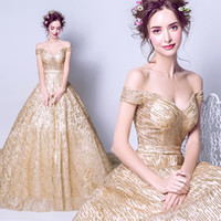 Wholesale Dream Evening Gown - Gold Dream V Neck Off The Shoulder Bling Bling Sequins Evening Dresses 2017 New Arrival Real Model Prom Gowns