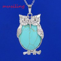 Wholesale Silver Charms For Necklaces Owls - musiling Jewelry Natural Stone Owl Pendants Pendulum Silver Plated Charms Bohemian Healing Chakra Amulet Fashion Jewelry For Women