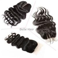Wholesale Lace Closure Top Piece - Top Lace Closure (4*4) Brazilian Peruvian Indian Maalysian Human Hair Closure Body Wave Natural Color Hair Extensions Hair Pieces julienchin