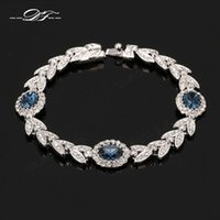 Wholesale Silver Plated Olive Branch - Olive Branch Blue Crystal Imitation Gemstone Bracelets & Bangles Wholesale Platinum Plated Jewelry For Women Gift Crystal DFH047